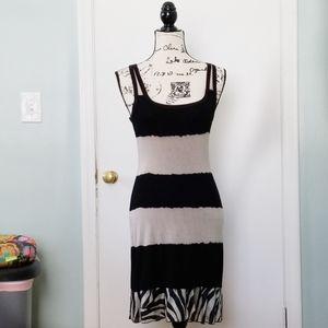 BAILEY44 • Black n Taupe Striped Tank Dress